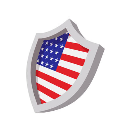 52476232 - security shield with american flag color cartoon icon on white background